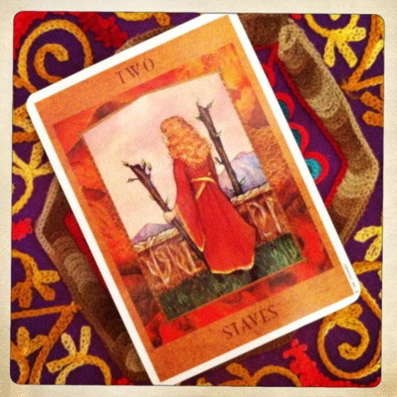 Two of Wands from the Goddess Tarot