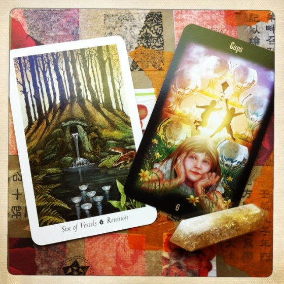 The Six of Cups from The Wildwood Tarot and The Gateway to the Divine Tarot