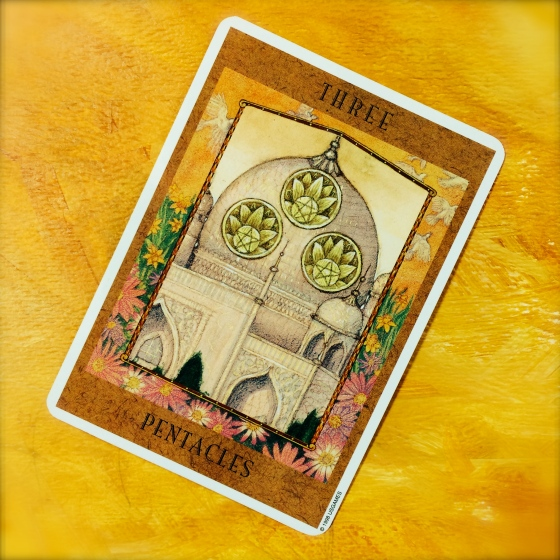 Three of Pentacles from The Goddess Tarot