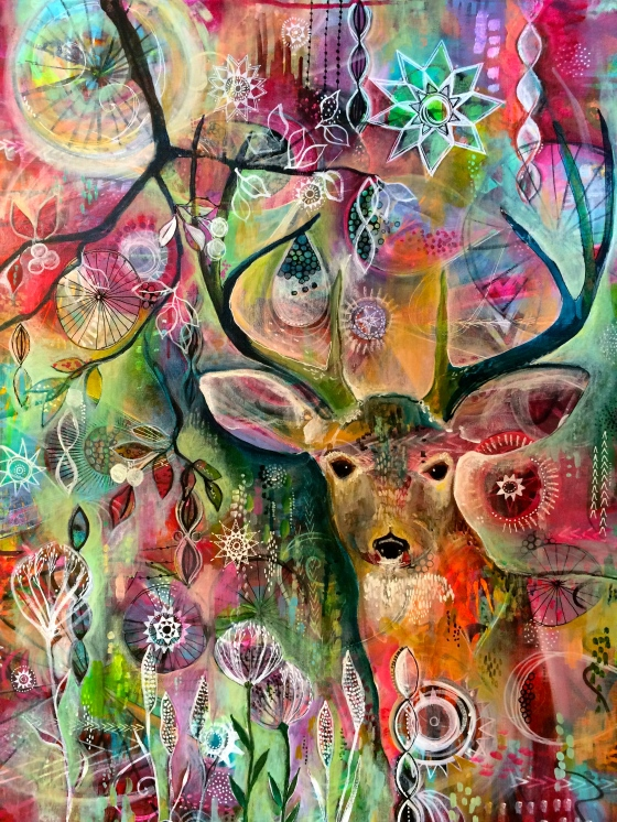 """Deer at Twilight"", acrylic on canvas, 24"" x 30"", original painting by Jennifer Currie"