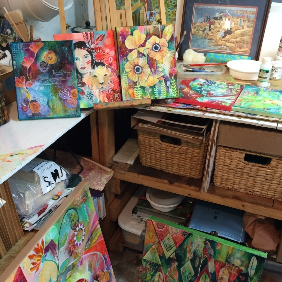 A messy studio but putting finishing touches on all these paintings felt really good.